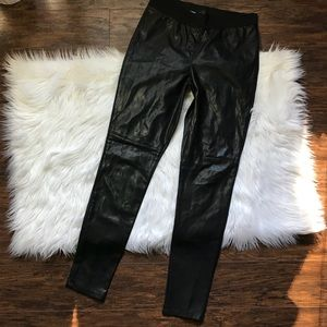 Ann Taylor Black Pleather Leggings